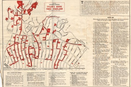 vintage map of beverly hills star homes | beverly hills