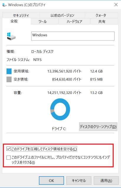 このドライブを圧縮してディスク領域を空ける このドライブ上のファイルに対し、プロパティだけでなくコンテンツにもインデックスを付ける