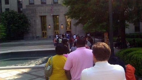 The line outside of the Jefferson County Courthouse, 5.31.2011