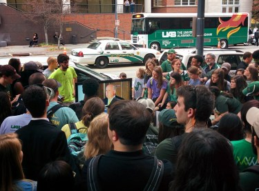 UAB students watch the announcement