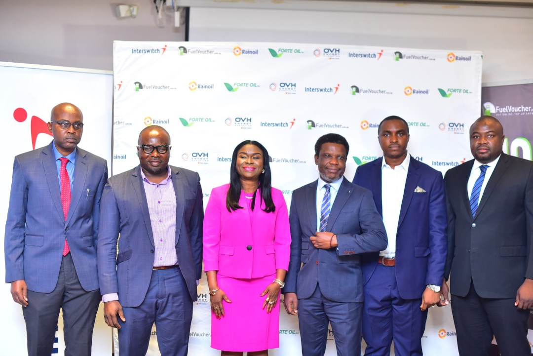 L-R: Kenneth Ndabai, Executive Director Operations at RainOil; Chimezie Emewulu, CEO of Seamfix/EVSL; Chinyere Don-Okhuofu, Divisional CEO of Interswitch Industry Vertical Markets, Paul Ohakim, Group Head Industry and Retail Chains at Interswitch; Mr. Chibuzor Onwurah, Co-founder, Seamfix/EVSL and Mr. Ayuba Loko, Head, Retail and Commercial Sales at RainOil