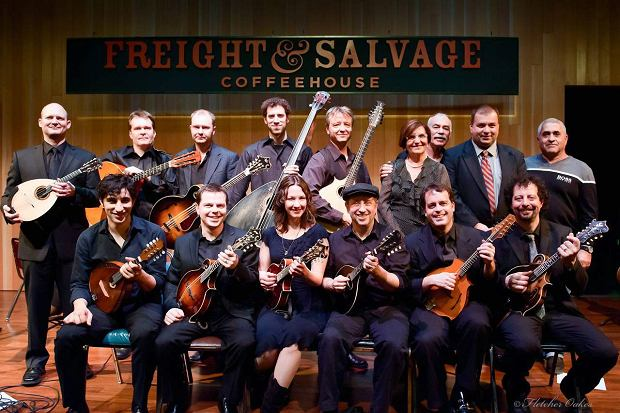 ESP team at the festival in Berkeley.  The second from the right in the top row - team founder Avner Yonai.  The first from the left in the bottom row - mandolinist Avi Avital.