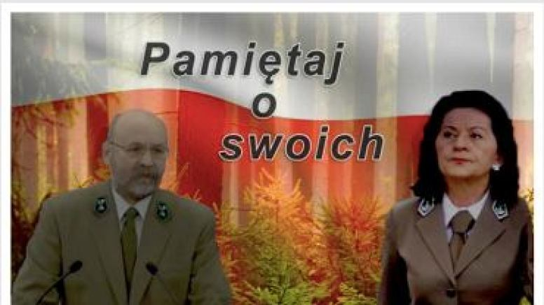 Baner Lasów Państwowych z kandydatami PiS