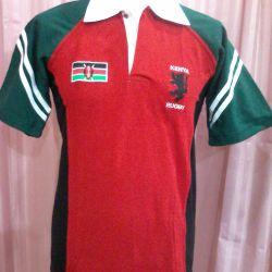 Kenya Rugby red polo with raglan sleeves