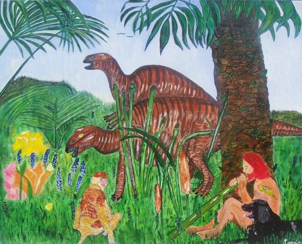 "The picture is 24 X 30 acrylic painting on Job 40:15-24 described in the Bible as Behemoth, today in science as Tenontosaurus. God says, ""Look now at the behemoth, which I made along with you; He eats grass like an ox... This picture shows that dinosaurs did not die off a long time before man came on the scene. It also shows Adam in the garden dwelling together in peace with the animals before sin came into the world. There is also a Proboscis Monkey, a dog, three birds and two butterflies to show that all were created by God in the six days of creation."