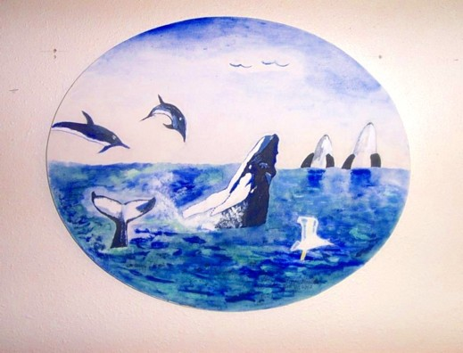 Original acrylic/oil painting. 8x16 oval canvas. The painting is of the 5th day of creation. There are two humpback whales, one of these, only it's tail is showing. Then two dolphins are leaping playfully out of the water. Two killer whales are seen in the background. Three seagulls are in the picture, two flying in the distance and one closeup. It all speaks of God's wonderful creative ability, that is beyond our wildest imaginations!