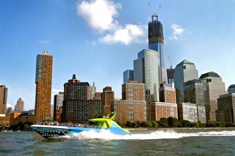 If you want to experience a thrilling speedboat ride with The Shark, you can buy a New York City Explorer Pass: New York City Explorer Pass with Speedboat Ride or you can book it on Circle Line's website: http://www.circlelinedowntown.com/tours/shark