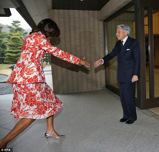 Disgraceful:  Clumsy Michelle Obama Tries to Wear High Heels, Trips and Falls on Japanese Prime Minister