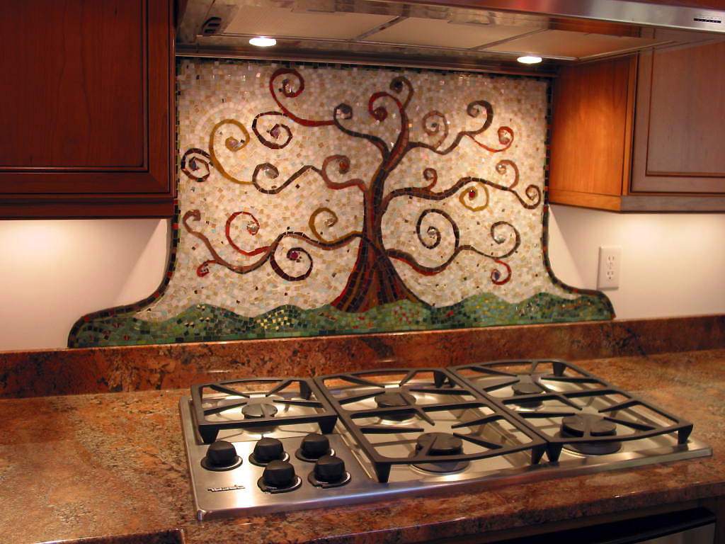 residential mosaics mosaic kitchen backsplash kitchen backsplash mosaic tree of life after Klimt