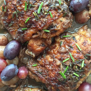 Red Wine Braised Chicken with Grapes & Caramelized Onion