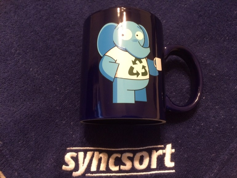 Herbert the Syncsort Big Data mascot on a cup