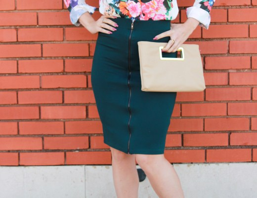 Floral blouse and pink pumps.