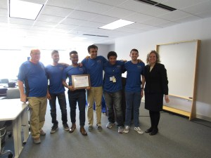 2017 BIG Idea Challenge First Place Winners from the University of Maryland, from left to right, Dr. Dave Akin, Shaheer Khan, Hermann Kaptui Sipowa, Rounak Mukhopadyay, Leandre Jones, Ryan Ernandis, and Mary Beth Wusk (NASA LaRC)