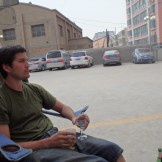 Vaughan enjoying a drink in the hotel beer garden (Hotan, China)