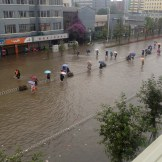 Flooded street outside out hotel (Kunming, China)