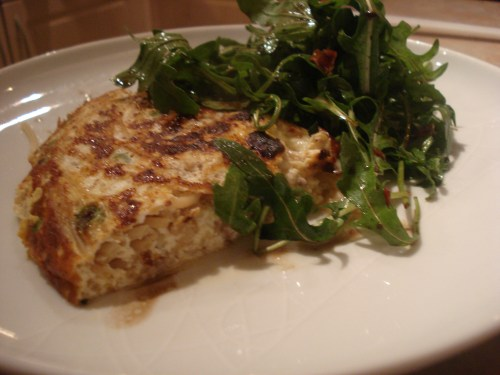 cheddar frittata with zingy balsamic rocket salad