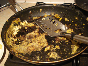 my poor destroyed, beloved 30cm non-stick frying pan