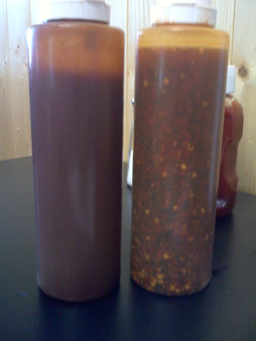 Sauces -- KC style on the left, vinegar on the right