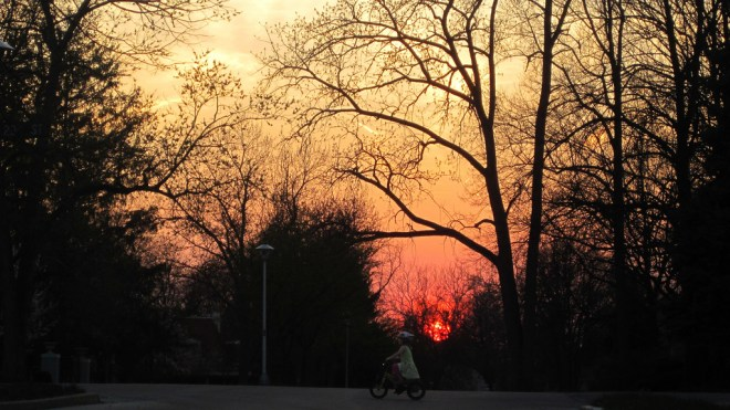 biking home at Sunset