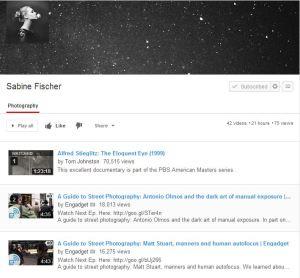 Sabine Fischer: Photographie-Playlist auf YouTube