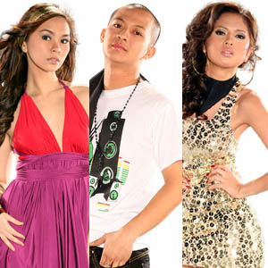 (From left) Gretchen Espina, Ram Chaves, and Jayann Bautista perform for the last time to determine who will get the title of the first-ever Pinoy Idol.