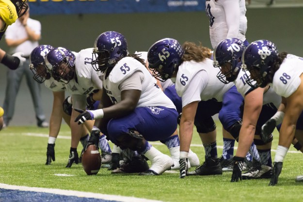 Weber State prepares to snap the ball from the 2-yard line, late in a game against host Northern Arizona. (Bill Ferris)