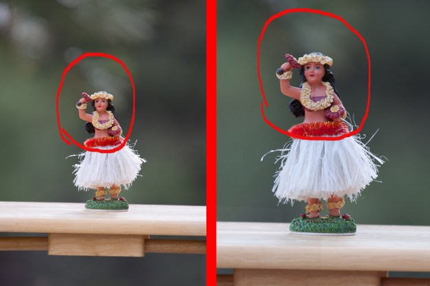 The photo to the left of the divider was made with the Nikon D610 and Nikkor 200-500mm f/5.6E at 500mm, f/5.6, ISO 400, 1/250-second. The photo on the right was made with the same lens at the same distance from subject also at 500mm, f/5.6, ISO 400, 1/250-second. (Bill Ferris)