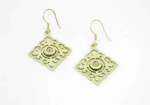 Earrings Tile And Bullet Rim – Recycled Brass
