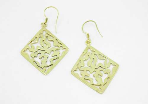 Earrings Recycled Brass – Square Water Drop