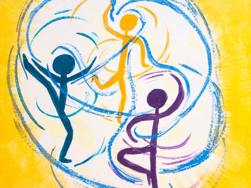 Perichorese, Tanz der Dreinigkeit, Abstrakte Malerei, Acryl auf Papier, 30x40cm * Perichoresis, Acrylic on Paper, 12x16in