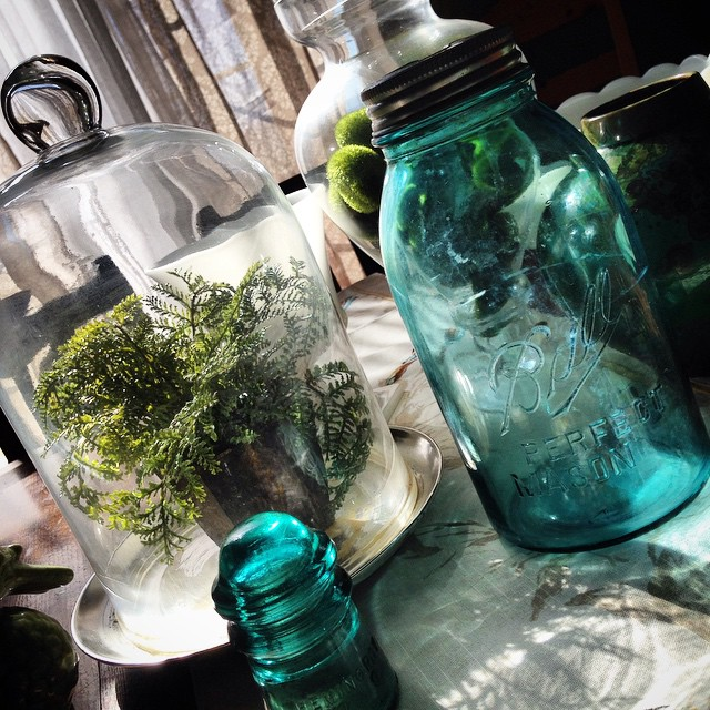 #spring vignette on the dining table #tablescape #masonjars #homedecor #freshair