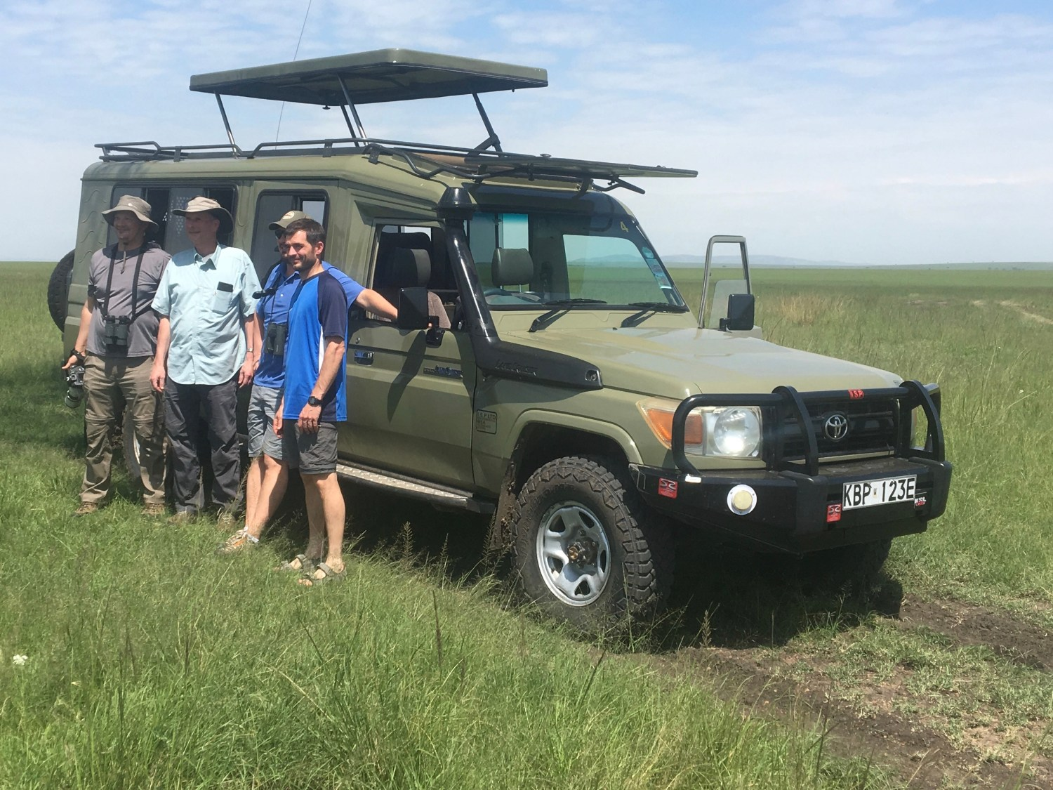 Jim and sons, Dave, Bill,  Tom. In Mara Game reserve in July 2019. We did  9-days birding trip enlisting 410 birds of which most were photographed.