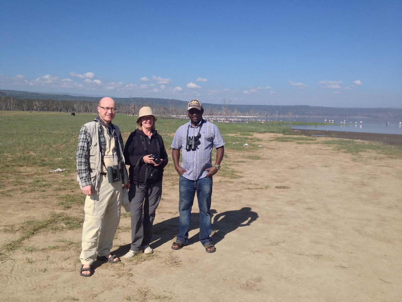 Finnish Couple, Kim soderling and Lampen Hikka at the shores of Lake Nakuru during a short birding trip in October 2017