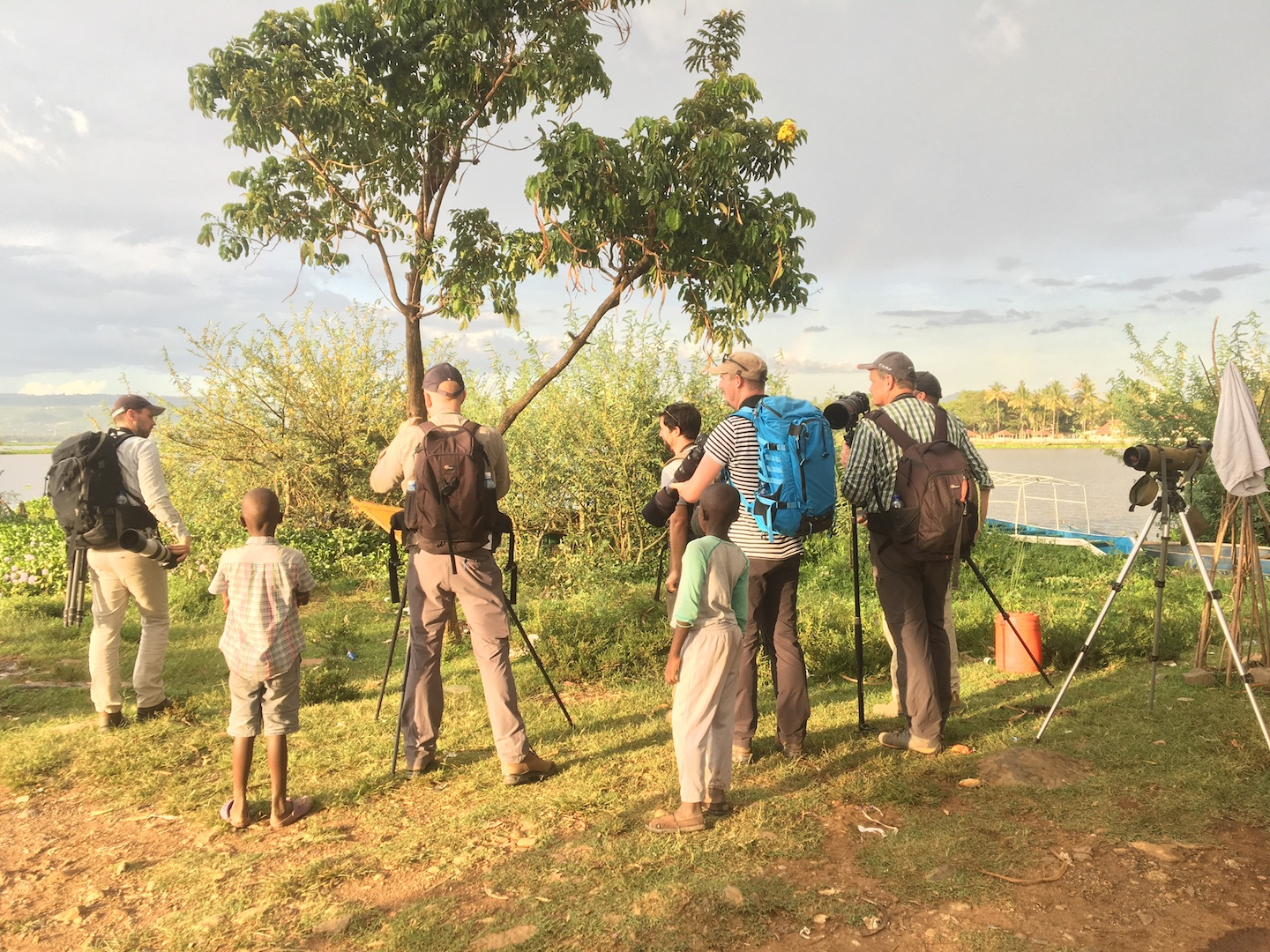 Dutch birders at the shores of Lake Victoria in November 2019