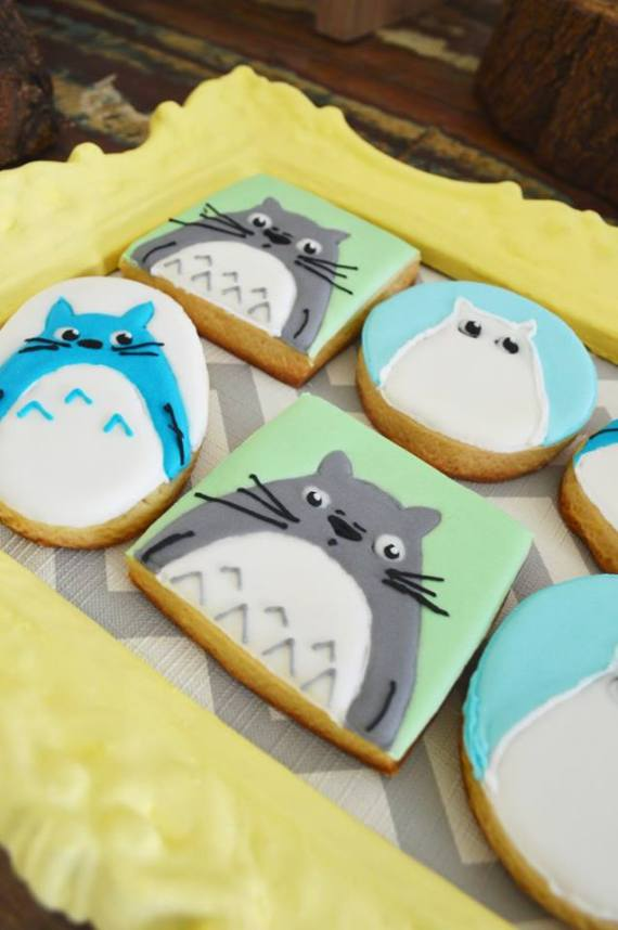 Colorful-Totoro-Birthday-Party-Sugar-Cookies