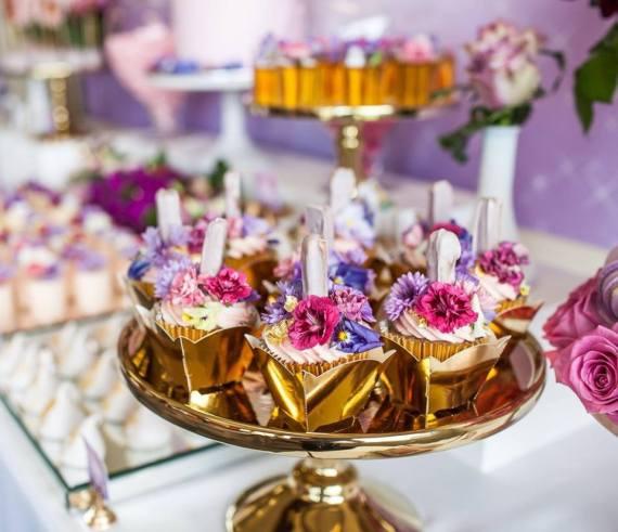 Colorful-Secret-Garden-Birthday-Party-Gold-Cupcakes