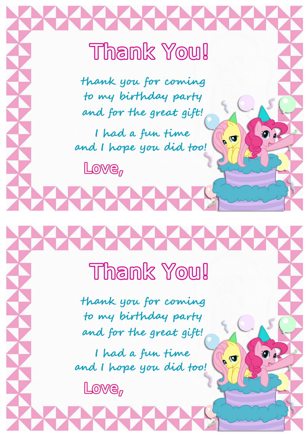 Amazing S Birthday Thank You Cards Personalised My Little Pony Thank You Cards Birthday Printable Birthday Thank You Cards cards Birthday Thank You Cards