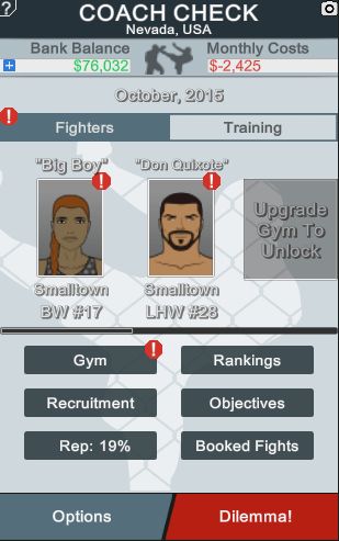 The Main screen of MMA Manager using the light theme.