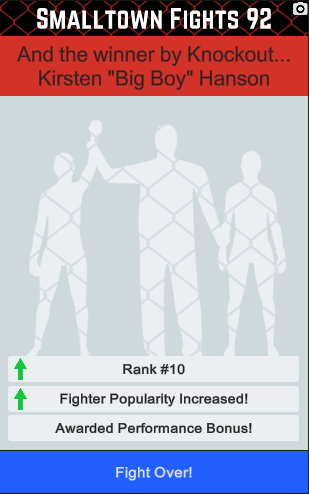 The new post fight screen for women fighters.