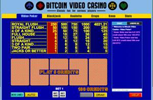 video poker at Bitcoin Video Casino