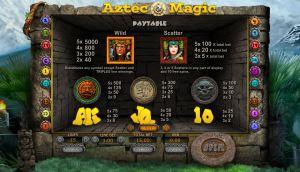 Aztec Magic paytable
