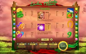 Lady's Lucky Clover paytable