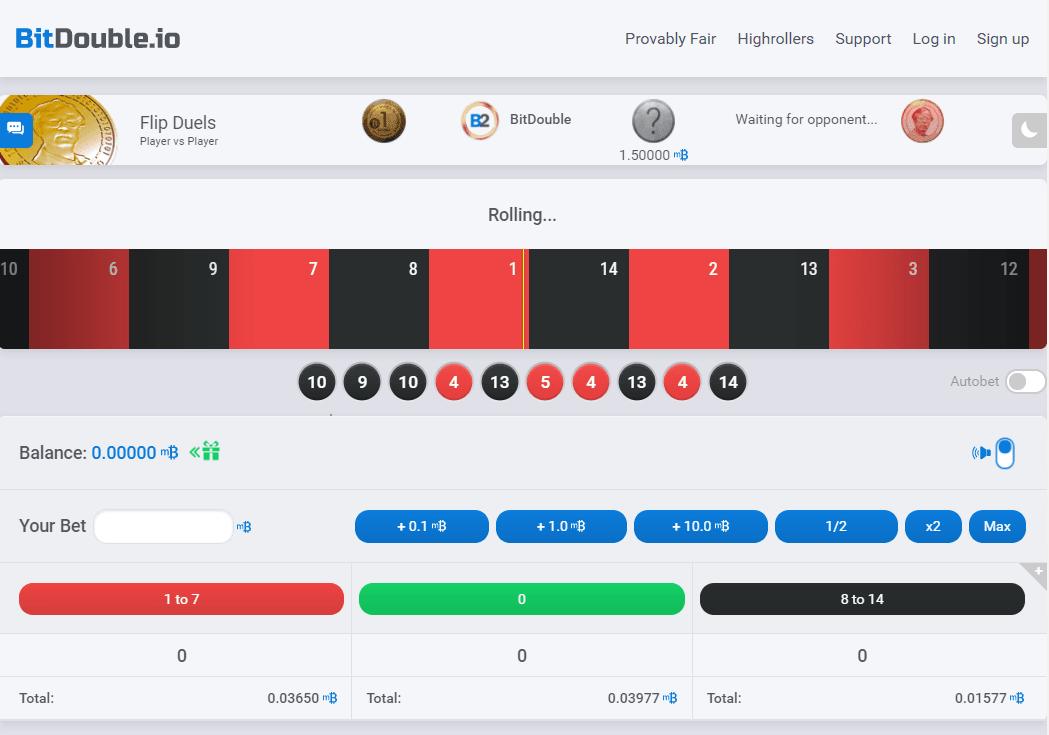 Bitdouble casino homepage