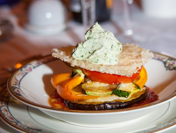 stacked ratatouille with whipped pesto-laced chevre