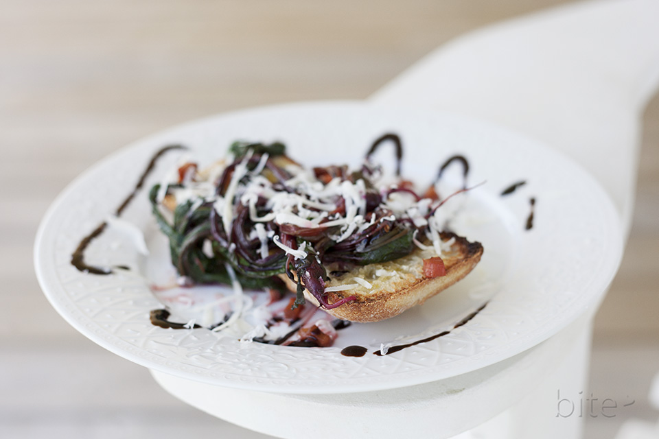 beet greens bruschetta with balsamic drizzle and chilies