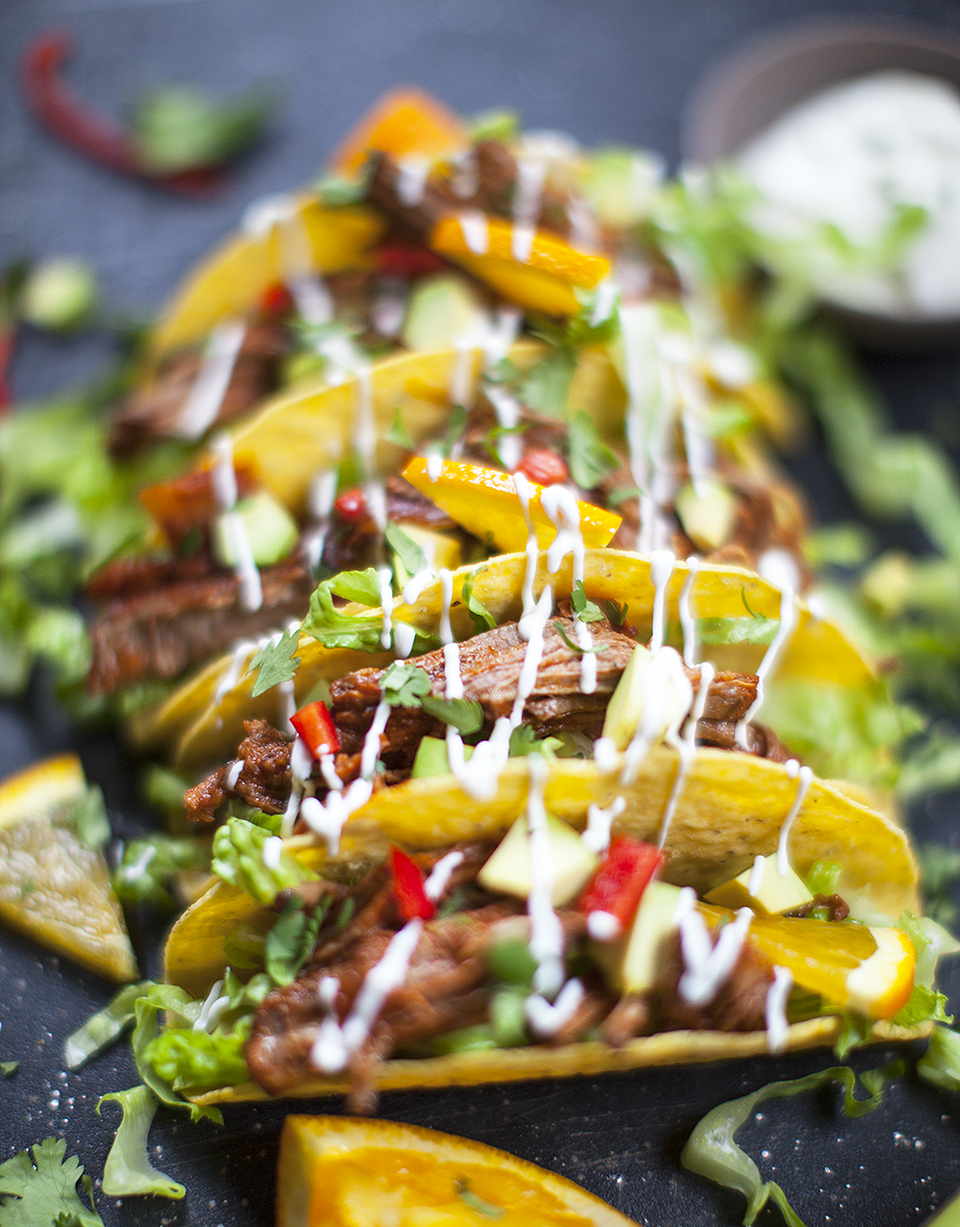 MEXICAN BRAISED BEEF TACOS – serves 4