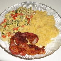 Mangu de platano recipe, with scrambled eggs and bacon