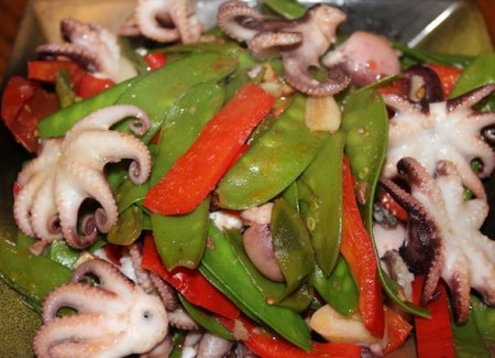 Baby octopus recipe. Stir fried octopus with snow peas and red bell pepper.