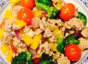 Pork primavera: Ground pork with mixed vegetables