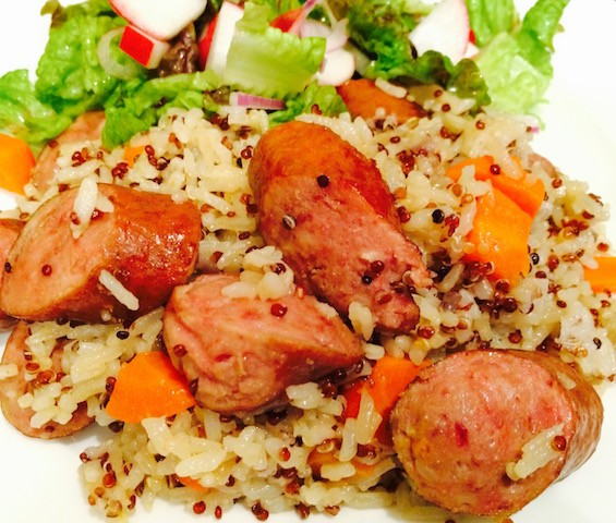 Pressure cooker quinoa rice with sausage